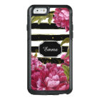 Pink Peony Floral Black White Stripe OtterBox iPhone 6/6s Case