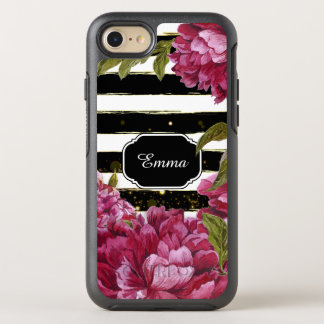 Pink Peony Floral Black White Stripe OtterBox Symmetry iPhone 7 Case