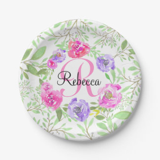 Pink Peony Floral Watercolor Monogram 7 Inch Paper Plate