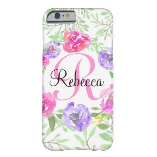 Pink Peony Floral Watercolor Monogram Barely There iPhone 6 Case