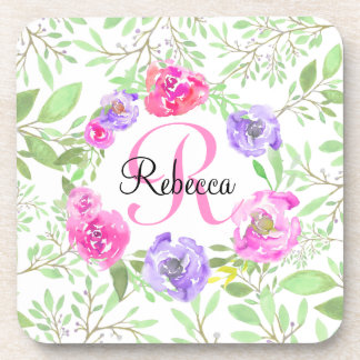 Pink Peony Floral Watercolor Monogram Coasters