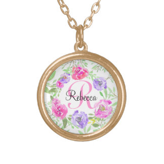 Pink Peony Floral Watercolor Monogram Gold Plated Necklace