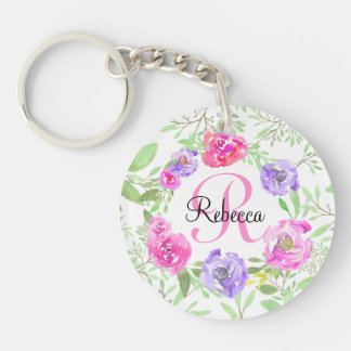 Pink Peony Floral Watercolor Monogram Keychain