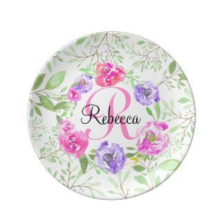 Pink Peony Floral Watercolor Monogram Plate