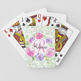 Pink Peony Floral Watercolor Monogram Playing Cards