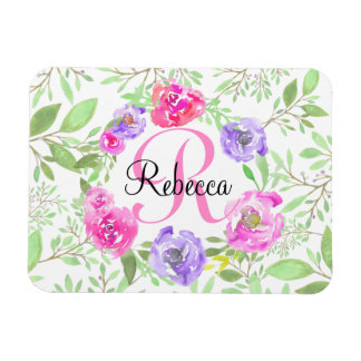 Pink Peony Floral Watercolor Monogram Rectangular Photo Magnet