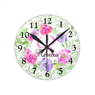 Pink Peony Floral Watercolor Monogram Round Clock