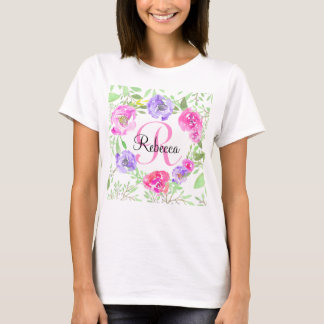 Pink Peony Floral Watercolor Monogram T-Shirt