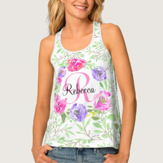 Pink Peony Floral Watercolor Monogram Tank Top