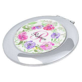 Pink Peony Floral Watercolor Monogram Travel Mirrors