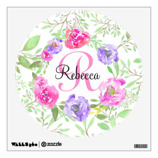 Pink Peony Floral Watercolor Monogram Wall Sticker