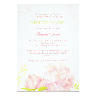 "Pink Peony Floral Wedding Shower 5"" X 7"" Invitation Card"