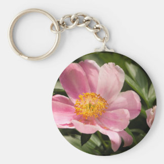 Pink Peony Flower Fully Open Keychain