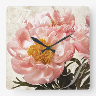 Pink Peony Flower Marble Script Background Square Wall Clock