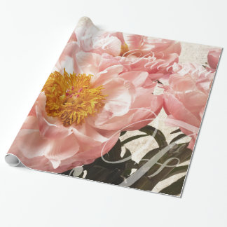 Pink Peony Flower Marble Script Background Wrapping Paper