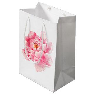 Pink Peony Flower Medium Gift Bag