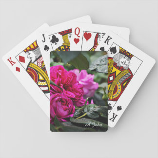 Pink Peony Flower playing cards