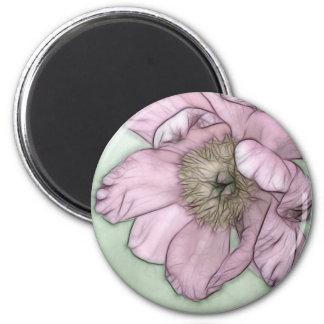 Pink Peony Flower Sketch 2 Inch Round Magnet