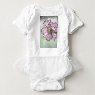 Pink Peony Flower Sketch Baby Bodysuit