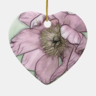 Pink Peony Flower Sketch Ceramic Heart Ornament