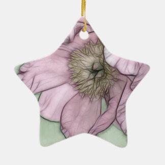Pink Peony Flower Sketch Ceramic Star Ornament