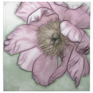 Pink Peony Flower Sketch Napkin