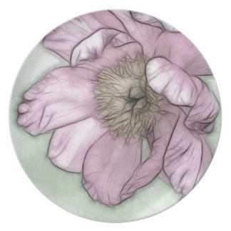 Pink Peony Flower Sketch Plate