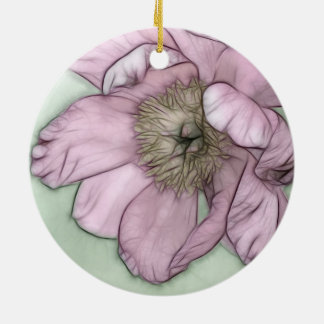 Pink Peony Flower Sketch Round Ceramic Ornament