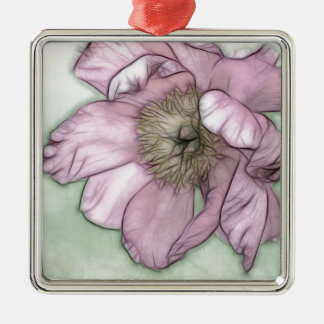 Pink Peony Flower Sketch Silver-Colored Square Ornament