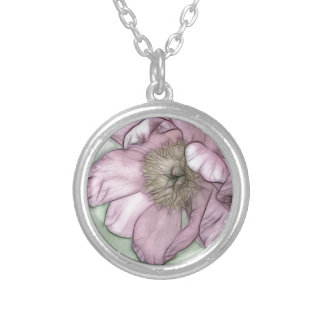Pink Peony Flower Sketch Silver Plated Necklace