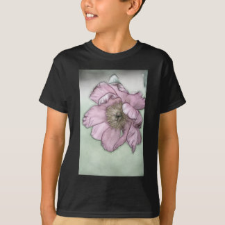 Pink Peony Flower Sketch T-Shirt