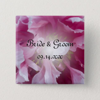 Pink Peony Flower Wedding 2 Inch Square Button