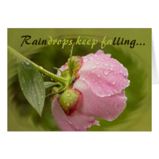 Pink peony flower with glittering raindrops CC0778 Card