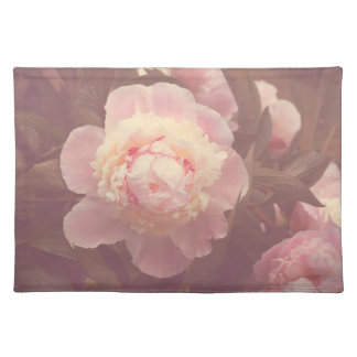 Pink Peony Flowers Cotton Place Mat