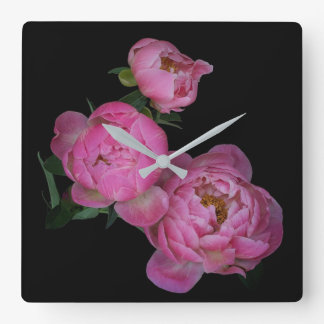 Pink Peony Flowers Nature Black Wall Clock