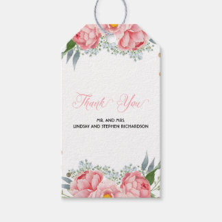 Pink Peony Flowers Watercolor Elegant Wedding Gift Tags