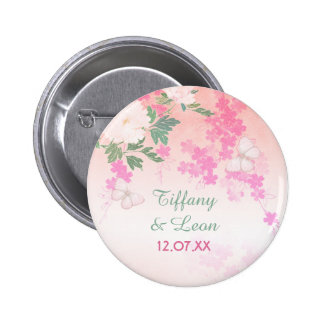 Pink Peony Garden Wedding 2 Inch Round Button