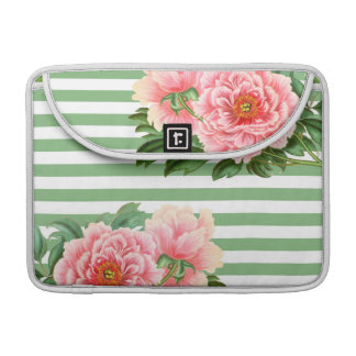 Pink Peony Green Romantic Sleeve For MacBook Pro
