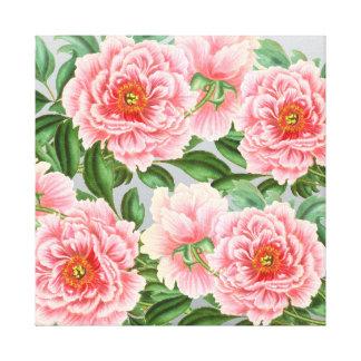 Pink Peony Grey Canvas Print