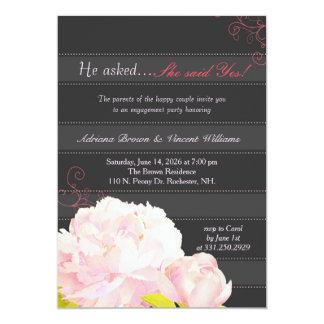 "Pink Peony Grey Stripes Wedding Engagement 5"" X 7"" Invitation Card"