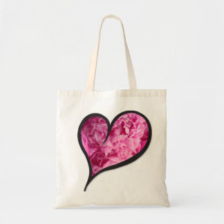 Pink Peony Heart Floral Design Tote Bag