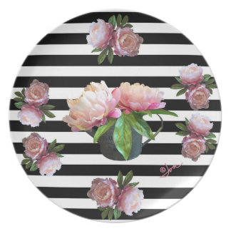 """Pink Peony In Watering Can 10"""" Melamine Plate"""