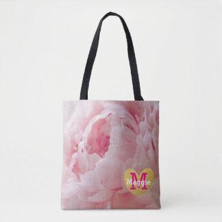 Pink Peony Monogram Wedding Party Tote Bag