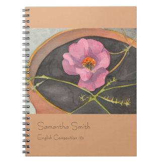 Pink Peony Notebook, Terra Cotta, Customizable Notebooks