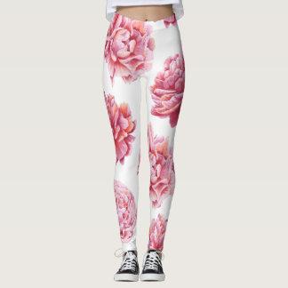 Pink Peony on White Leggings