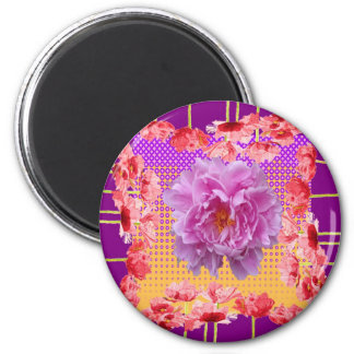 pink peony purple floral art 2 inch round magnet
