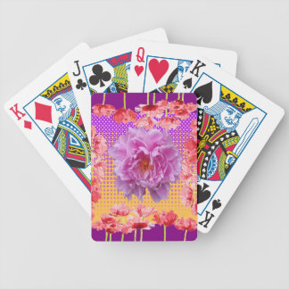 pink peony purple floral art bicycle playing cards