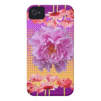 pink peony purple floral art Case-Mate iPhone 4 cases