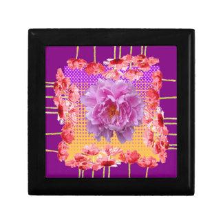 pink peony purple floral art gift box