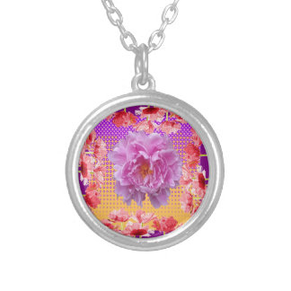 pink peony purple floral art silver plated necklace